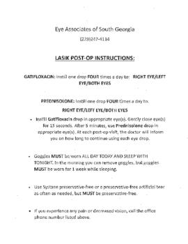 LASIK Post-Op Instructions