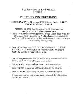 PRK Post-Op Instructions
