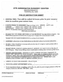 Pre-Op Instructions