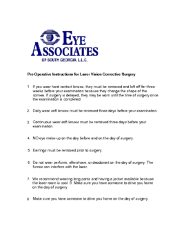 LASIK Pre-Op Instructions